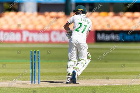 WICKET - Sam Evans is caught down the leg side during the final day of the LV= Insurance County Championship match between Leicestershire County Cricket Club and Middlesex County Cricket Club at the Uptonsteel County Ground, Leicester