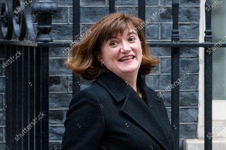 Secretary of State for Digital, Culture, Media and Sport Baroness Nicky Morgan leaves 10 Downing Street in central London after attending a Cabinet meeting on 11 February, 2020 in London, England. Prime Minister and his government are expected to give a go-ahead to the HS2 high-speed rail project despite concerns over its cost, which is now estimated at £106 billion, and the potential environmental impact of its construction.