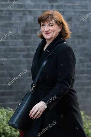 Secretary of State for Digital, Culture, Media and Sport Baroness Nicky Morgan arrives in Downing Street in central London to attend a Cabinet meeting on 06 February, 2020 in London, England.