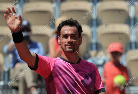 Fabio Fognini of Italy celebrates winning against Gregoire Barrere of France during their first round match at the French Open tennis tournament at Roland Garros in Paris, France, 30 May 2021.