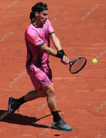 Fabio Fognini of Italy in action against Gregoire Barrere of France during their first round match at the French Open tennis tournament at Roland Garros in Paris, France, 30 May 2021.