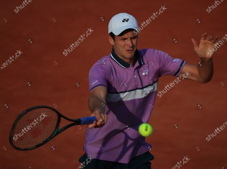 Stock Image of Hubert Hurkacz of Poland in action against Botic van de Zandschulp of the Netherlands at the French Open tennis tournament at Roland Garros in Paris, France, 30 May 2021.