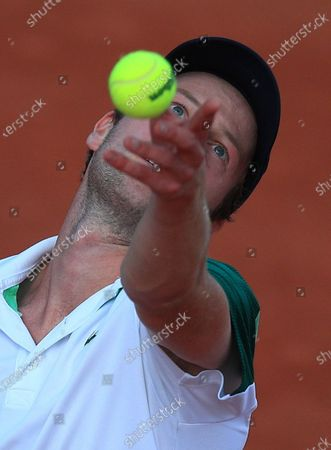 Botic van de Zandschulp of the Netherlands in action against Hubert Hurkacz of Poland at the French Open tennis tournament at Roland Garros in Paris, France, 30 May 2021.