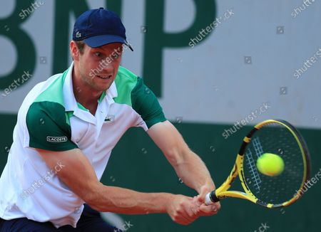 Stock Picture of Botic van de Zandschulp of the Netherlands in action against Hubert Hurkacz of Poland at the French Open tennis tournament at Roland Garros in Paris, France, 30 May 2021.