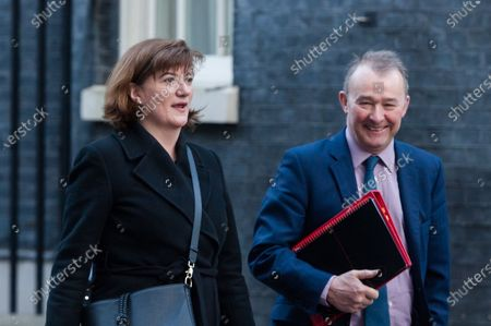 Secretary of State for Digital, Culture, Media and Sport Baroness Nicky Morgan (L) and Secretary of State for Wales Simon Hart (R) leave 10 Downing Street in central London after attending a Cabinet meeting on 06 February, 2020 in London, England.