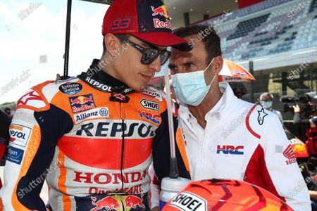 MUGELLO CIRCUIT, ITALY - MAY 30: Marc Marquez, Repsol Honda Team, Albberto Puig during the Italian GP at Mugello Circuit on Sunday May 30, 2021 in Scarperia e San Piero, Italy. (Photo by Gold and Goose / LAT Images)