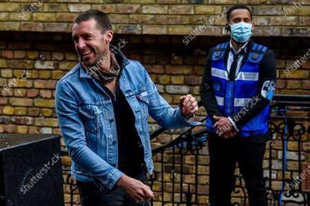 Stock Image of British singer and songwriter Miles Kane performs live at the Camden Market, London on July 25, 2020. Miles Kane performed at Camden's amphitheatre where the crowd attended following the measures of social distancing and wearing masks, as the Lockdown measures due To the coronavirus outbreak were eased.