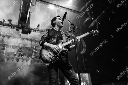 (EDITOR'S NTOE: Image was converted to black and white) Welsh rock band Stereophonics perform on stage at the O2 Arena in London on March 6, 2020. The band consists of Kelly Jones (lead vocals, lead guitar, keyboards), Richard Jones (bass guitar, piano, backing vocals), Adam Zindani (rhythm guitar, backing vocals), Jamie Morrison (drums, percussion).