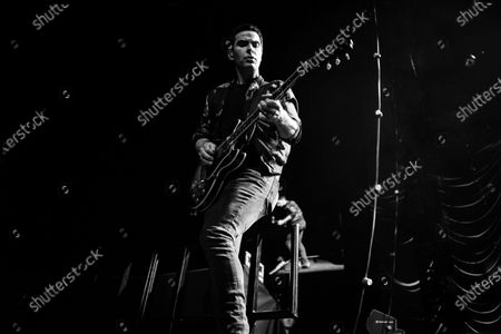 (EDITOR'S NOTE: Image was converted to black and white) Welsh rock band Stereophonics perform on stage at the O2 Arena in London on March 6, 2020. The band consists of Kelly Jones (lead vocals, lead guitar, keyboards), Richard Jones (bass guitar, piano, backing vocals), Adam Zindani (rhythm guitar, backing vocals), Jamie Morrison (drums, percussion).
