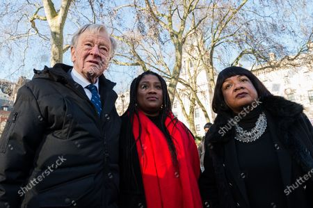 Lord Alf Dubs (L), Labour MP Marsha de Cordova (C) and Shadow Home Secretary Diane Abbott (R) take part in a rally in Parliament Square, organised by Safe Passage charity, urging the peers in the House of Lords to back Lord Dubs Amendment to the EU Withdrawal Bill, which allows for unaccompanied refugee children to be reunited with their relatives in Britain on 20 January, 2020 in London, England. Last week MPs in the Commons rejected proposals, previously accepted by Theresa May's government, to keep protections for child refugees in the redrafted EU Withdrawal Agreement Bill.
