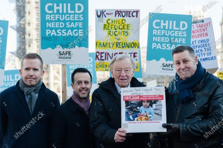 Lord Alf Dubs (2R) together with politicians, campaigners, and activists take parts in a rally in Parliament Square, organised by Safe Passage charity, urging the peers in the House of Lords to back Lord Dubs Amendment to the EU Withdrawal Bill, which allows for unaccompanied refugee children to be reunited with their relatives in Britain on 20 January, 2020 in London, England. Last week MPs in the Commons rejected proposals, previously accepted by Theresa May's government, to keep protections for child refugees in the redrafted EU Withdrawal Agreement Bill.