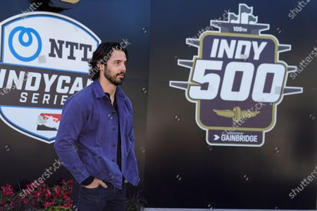 Stock Photo of Actor Milo Ventimiglia is introduced before the Indianapolis 500 auto race at Indianapolis Motor Speedway in Indianapolis, . Ventimiglia is the honorary start and will wave the green flag to start the race