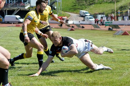 Stock Photo of TRY 4-0 Joe Brown during the Betfred Championship match between Bradford Bulls and York City Knights at the Odsal Stadium, Bradford