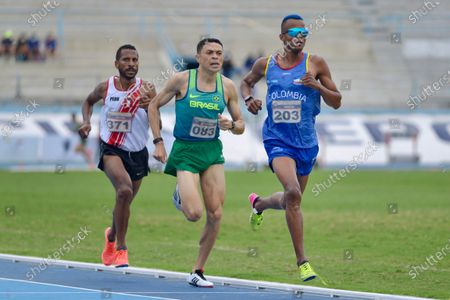 Stock Image of Brazilian Altobelli Santos da Silva (C), the Colombian Carlos Andres San Martin (R) and the Peruvian Mario Bazan compete in the 3,000-meter hurdles test, during the 52nd South American Athletics Championship, qualifying for the Tokyo Olympic Games, in Guayaquil, Ecuador, 30 May 2021.Santos da Silva won the gold, the silver went to San Martin and Bazan took the bronze.