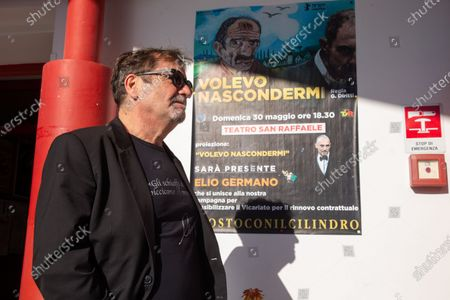 """Pino Cormani, artistic director of San Raffaele Theater in Rome Italian actor Elio Germano, winner of David di Donatello 2021 award as best leading actor, joined the protest of managers of San Raffaele Theater in Trullo district in Rome, which is about to be closed by Vicariate after 40 years of management of """"Il Cilindro"""" association."""