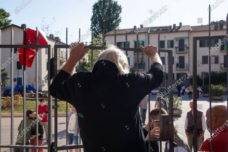"""View of the entrance of San Raffaele Theater in Rome Italian actor Elio Germano, winner of David di Donatello 2021 award as best leading actor, joined the protest of managers of San Raffaele Theater in Trullo district in Rome, which is about to be closed by Vicariate after 40 years of management of """"Il Cilindro"""" association."""