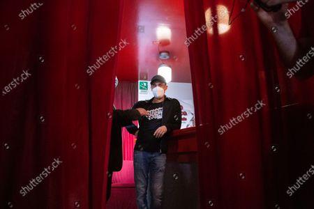 Editorial photo of Elio Germano against closure of San Raffaele Theater, Rome, Italy - 30 May 2021