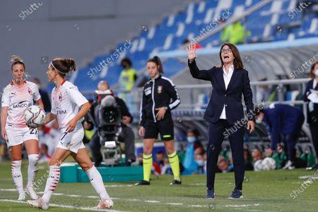 Italy, Reggio Emilia, may 30 2021: Elisabetta Bavagnoli (Roma manager) gives advices from the bench during football match AC MILAN vs AS ROMA, Final Women Coppa Italia, Mapei stadium