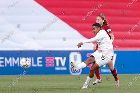 Italy, Reggio Emilia, may 30 2021: Refiloe Jane (Milan midfielder) shots on goal in the first half during football match AC MILAN vs AS ROMA, Final Women Coppa Italia, Mapei stadium