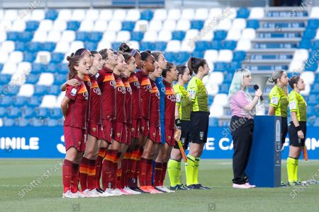 Italy, Reggio Emilia, may 30 2021: as Roma players in center field for match presentation during football match AC MILAN vs AS ROMA, Final Women Coppa Italia, Mapei stadium