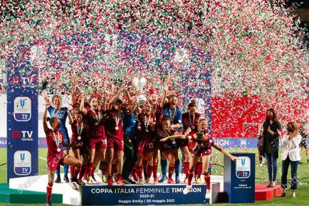 Italy, Reggio Emilia, may 30 2021: as Roma players celebrate the victory during football match AC MILAN vs AS ROMA, Final Women Coppa Italia, Mapei stadium
