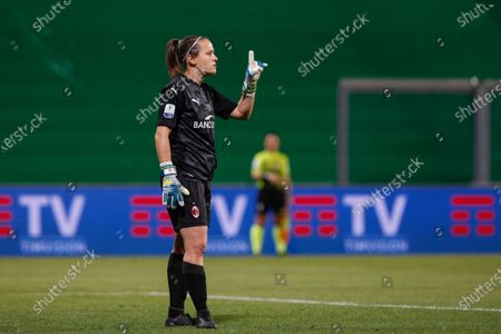 Italy, Reggio Emilia, may 30 2021: Maria Korenciova (Milan goalkeeper) gives advices to teammates during football match AC MILAN vs AS ROMA, Final Women Coppa Italia, Mapei stadium