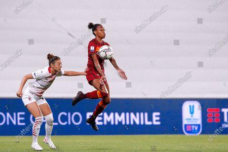 Stock Image of Italy, Reggio Emilia, may 30 2021: Lindsay Thomas (Roma striker) ball control in the first half during football match AC MILAN vs AS ROMA, Final Women Coppa Italia, Mapei stadium