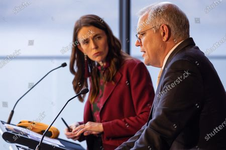 New Zealand Prime Minister Jacinda Ardern and Australian Prime Minister Scott Morrison speak during a joint press conference held at The Nest in Queenstown, New Zealand, 31 May 2021. Australian Prime Minister Scott Morrison is on a two-day visit to New Zealand to attend the annual Australia-New Zealand Leaders' Meeting.