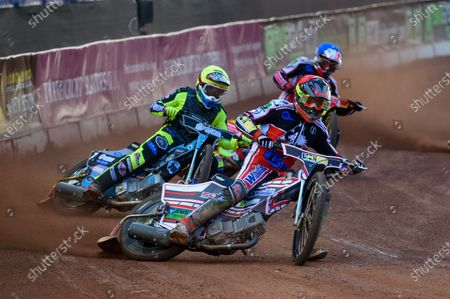 Jack Parkinson-Blackburn  (Red) leads Mason Watson  (Yellow) and Ben Woodhull  (Blue) during the SGB National Development League match between Belle Vue Colts and Berwick Bullets at the National Speedway Stadium, Manchester on Friday 28th May 2021.