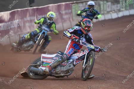 Jack Parkinson-Blackburn  (Red) leads Mason Watson  (Yellow) and Kyle Bickley  (White) during the SGB National Development League match between Belle Vue Colts and Berwick Bullets at the National Speedway Stadium, Manchester on Friday 28th May 2021.
