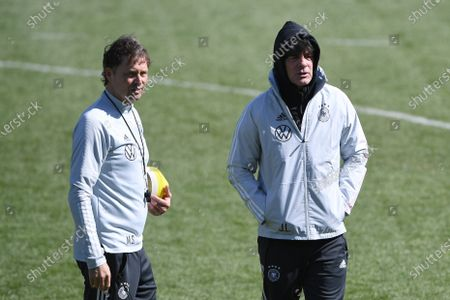 Marcus Sorg (German assistant coach), left. Joachim Jogi Löw (national trainer, trainer Germany), right