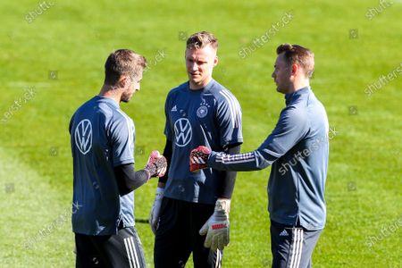 Kevin Trapp #22 (Germany), Bernd Leno #12 (Germany), Manuel Neuer #1 (Germany), training camp, German national team, DFB, European Championship