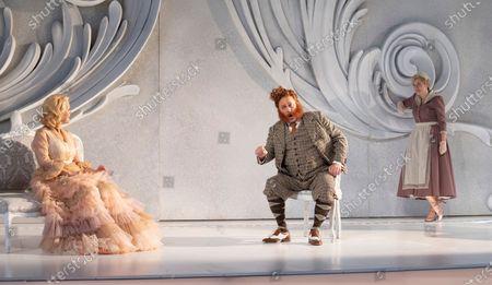 Stock Photo of Miah Persson as The Marschallin. Derrick Ballard as Baron Ochs, Hanna Hipp as Octavian.