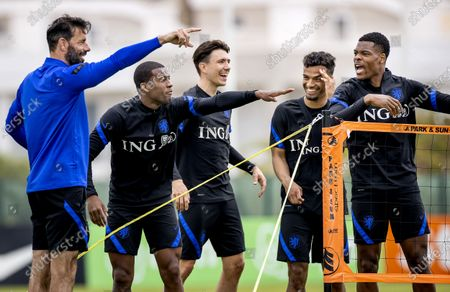 Ruud van Nistelrooy, Georginio Wijnaldum, Steven Berghuis, Owen Wijndal and Denzel Dumfries during a training session of the Dutch national team at the Cascade Resort on May 31, 2021 in Lagos, Portugal. The Dutch national team is preparing for the UEFA EURO 2020 in Portugal.
