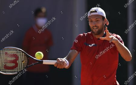 Joao Sousa of Portugal in action against Taylor Fritz of the USA during their first round match at the French Open tennis tournament at Roland Garros in Paris, France, 31 May 2021.