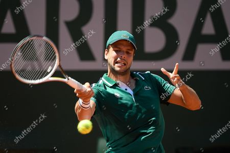 Gregoire Barrere (FRA) during his first round match during Roland Garros 2021. Sunday May 30, 2021. Paris. France. PHOTO: CHRISTOPHE SAIDI.