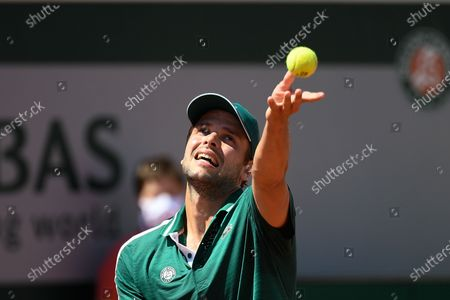 Stock Picture of Gregoire Barrere (FRA) during his first round match during Roland Garros 2021.