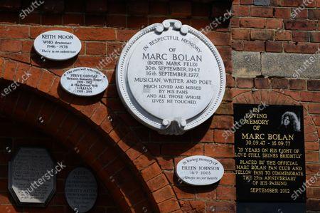 Memorial plaques to Marc Bolan, Golders Green Crematorium, Golders Green, London, UK.