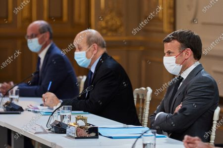 Editorial picture of Emmanuel Macron during a Bilateral videoconference interview with German Chancellor Angela Merkel, Palais de l'Elysee, Paris, France - 31 May 2021