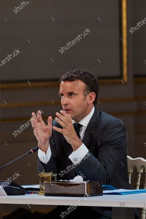The President of the French Republic, Emmanuel Macron during the Franco-German Council of Ministers in videoconference at the Palais de l'Elysee in Paris, France, on May 31, 2021. French and members of the cabinet take part in the 22nd German-French Ministerial Council videoconference at the Elysee presidential palace in Paris, France, on May 31, 2021.
