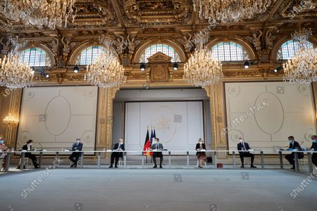 Editorial photo of Emmanuel Macron during a Bilateral videoconference interview with German Chancellor Angela Merkel, Palais de l'Elysee, Paris, France - 31 May 2021