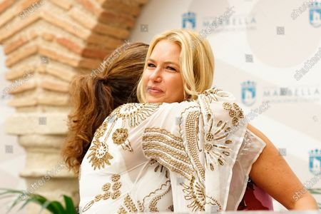President of Grupo Starlite, Sandra Garcia Sanjuan, hugs to Starlite ambassador, Valeria Mazza, during the Presentation of Starlite Catalana Occidente Festival 2021 in Marbella.