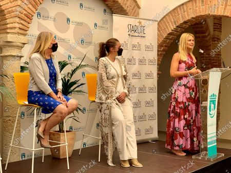 Argentinian model and World Tourism Organization (OMT) and Starlite ambassador, Valeria Mazza (R), Marbella's Mayoress, Angeles Munoz (L), and Starlite group founder and president, Sandra Garcia-Sanjuan (C), attend the presentation of the 10th edition of the Starlite International musical festival, in Marbella, Andalusia, Spain, 31 May 2021.