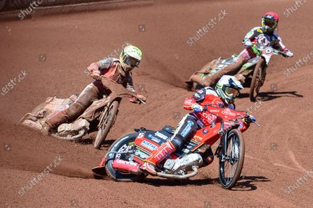 Peterborough Crendon Panthers Chris Harris  (White) and Jordan Palin  (Yellow) lead Charles Wright (Red) during the SGB Premiership match between Belle Vue Aces and Peterborough at the National Speedway Stadium, Manchester on Monday 31st May 2021.