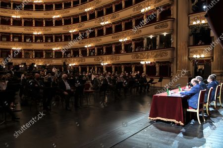 Teatro alla Scala presentation of the new show season 2021-2022 with the participation of Dominique Meyer superintendent of La Scala, Giuseppe Sala mayor of Milan, Riccardo Chailly conductor, Manuel Legris dancer In the photo: Dominique Meyer superintendent of La Scala, Giuseppe Sala mayor of Milan, Riccardo Chailly conductor, Manuel Legris dancer