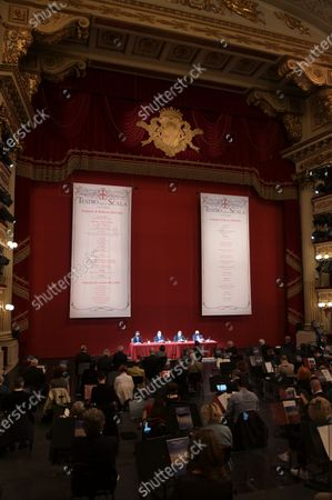 Teatro alla Scala presentation of the new show season 2021-2022 with the participation of Dominique Meyer superintendent of La Scala, Giuseppe Sala mayor of Milan, Riccardo Chailly conductor, Manuel Legris dancer In the photo: La Scala Teatro during the presentation new season shows
