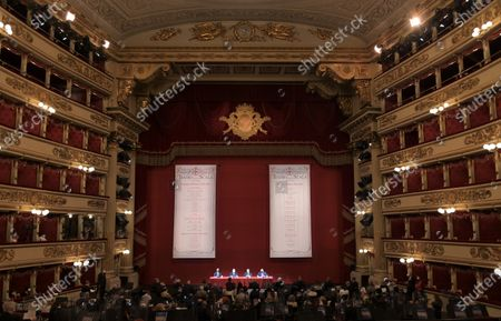 Stock Picture of  Teatro alla Scala presentation of the new show season 2021-2022 with the participation of Dominique Meyer superintendent of La Scala, Giuseppe Sala mayor of Milan, Riccardo Chailly conductor, Manuel Legris dancer In the photo: La Scala Teatro during the presentation new season shows