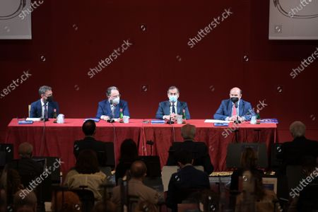 Stock Image of  Teatro alla Scala presentation of the new show season 2021-2022 with the participation of Dominique Meyer superintendent of La Scala, Giuseppe Sala mayor of Milan, Riccardo Chailly conductor, Manuel Legris dancer In the photo: Dominique Meyer superintendent of La Scala, Giuseppe Sala mayor of Milan, Riccardo Chailly conductor, Manuel Legris dancer