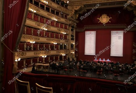 Stock Photo of  Teatro alla Scala presentation of the new show season 2021-2022 with the participation of Dominique Meyer superintendent of La Scala, Giuseppe Sala mayor of Milan, Riccardo Chailly conductor, Manuel Legris dancer In the photo: La Scala Teatro during the presentation new season shows