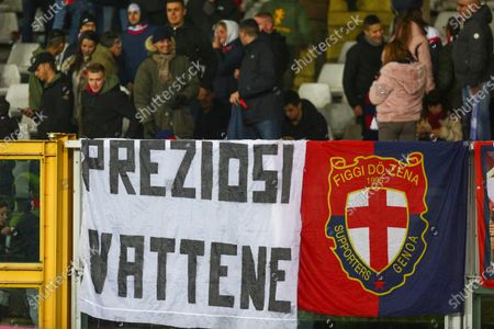 Genoa fans chose a banner against the president of the club Enrico Preziosi during the Italy Cup football match between Torino FC and Genoa CFC at Olympic Grande Torino Stadium on January 09, 2020 in Turin, Italy.